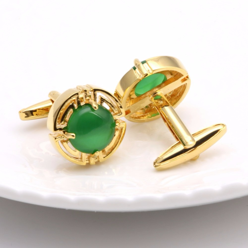 Mens Wedding Party Gifts: JAVRICK Vintage Green Opal Stone Shirt Cuff Links