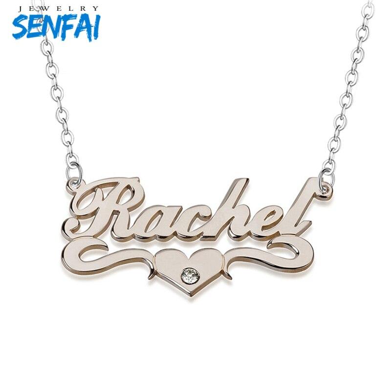 Nome personalizado Colares Declaração Personalizado Engrave Brithstone Cursive Palavras com Coração Collier Moda Pingente para As Mulheres