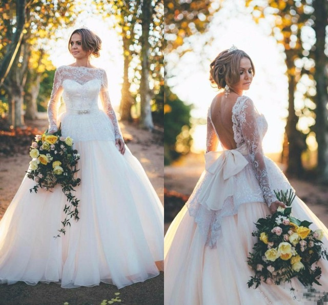 Y Lace Wedding Dresses With Long Sleeves Open Backless Plus Size 2017 Vintage Garden Western Country Bridal Gowns