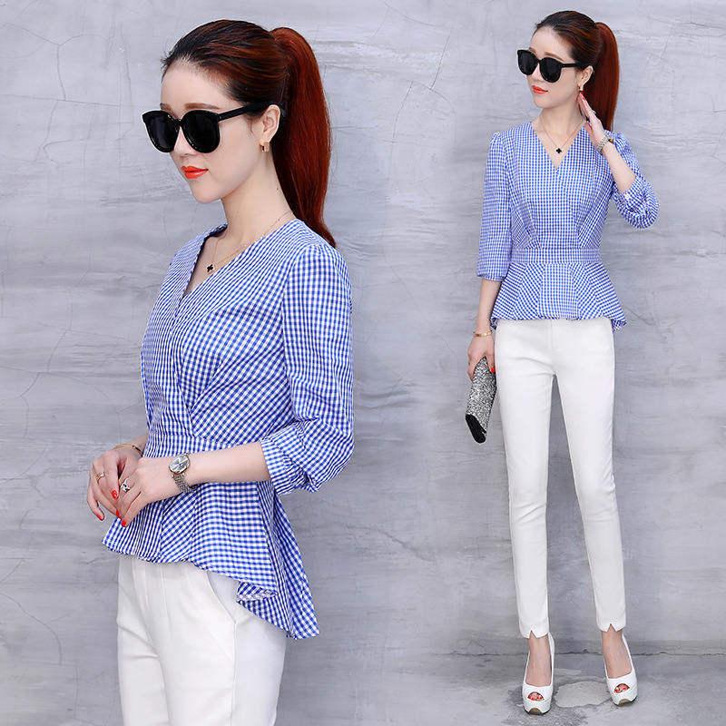 8a598f400ca Модные женские топы лето тонкая одежда офисная одежда в клетку рубашка  шифоновые блузки бренд дизайн синий мадам Fit модель casual DD1378. 1 2 ...