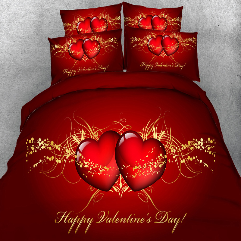 4PCS PER SET Valentines Day Red Hearts And Gold Hd Digital
