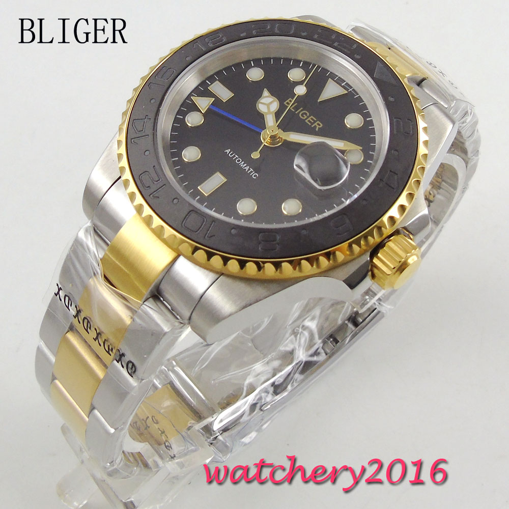 40mm Bliger Sapphire glass black dial Mens Mechanical Wristwatches Full Stainless Steel Date GMT Automatic Movement Men's Watch relojes full stainless steel men s sprot watch black and white face vx42 movement