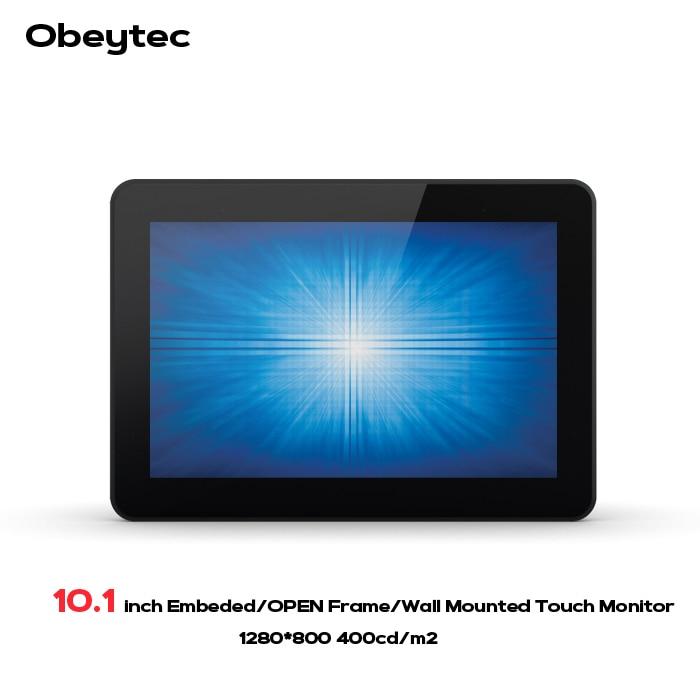 Obeytec 10.1 à Cadre Ouvert Industriel Capacitif Projeté PCAP moniteurs LCD, 5 points de contact, 3mm anti-vandale d'écran tactile