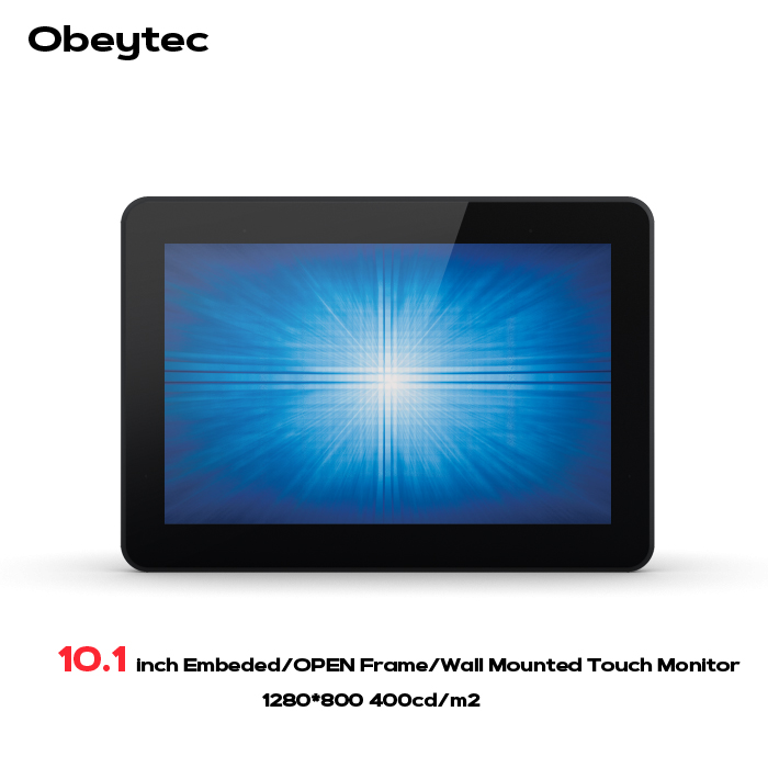 Obeytec 10.1 Industrial Open Frame Projected Capacitive PCAP LCD monitors, 5 touch points, 3mm anti vandal touch panel