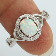 OPAL New Style Wholesale Retail 6x8MM Oval White Fire Opal AAA CZ Inlay Women Rings Size 6 / 7 / 7.5 / 8 / 9 64WD