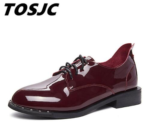 TOSJC British Style Oxford Shoes Women 2018 Spring Soft Leather Oxfords Flats Casual Shoes Lace Up