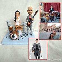play drum set kit hand made personalised bobblehead custom wedding cake topper sculpture gay lesbian straight