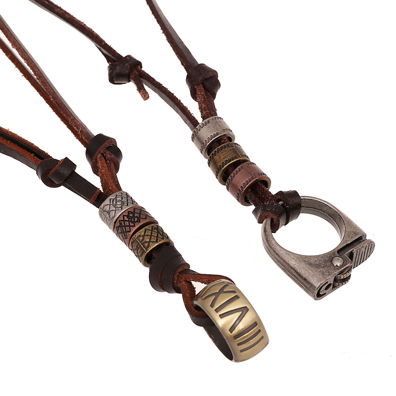 Fashion Trendy Long Brown Genuine Leather Sweater Chain