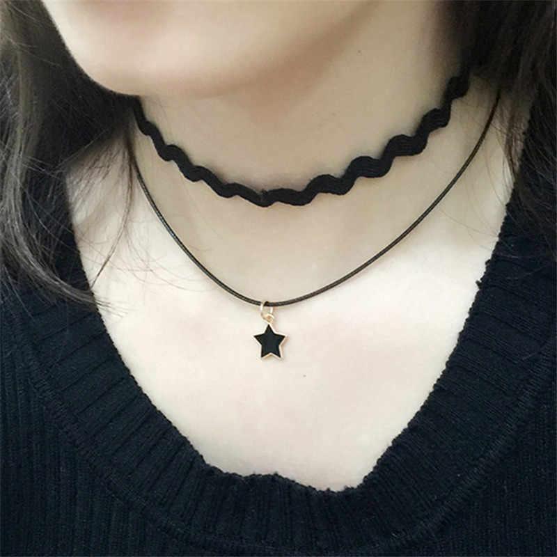 แฟชั่น Gothic หลาย Chokers สร้อยคอผู้หญิงสามเหลี่ยมวงกลมดาวดวงจันทร์สร้อยคอจี้ Punk Collares เครื่องประดับ Clavicle