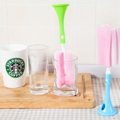 LOVE COSY Kitchen Long Handle Sponge Brush Glass Cup/Feeding Bottle Sponge Head Wash Brush PP Vertical Cleaning Brush 2262BS