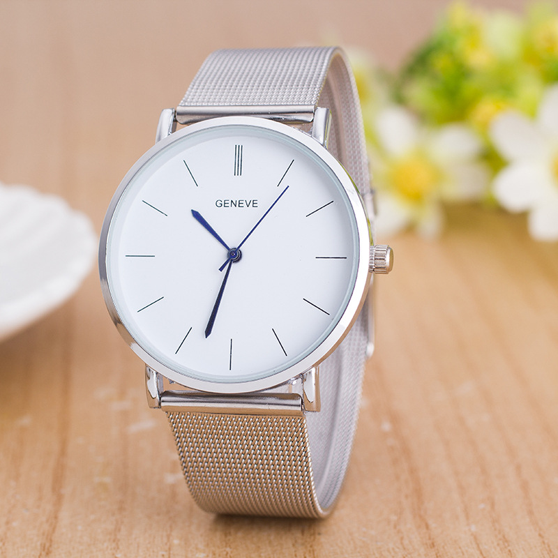 Relogio Feminino Fashion Luxury Brand Geneva Watch Ultrathin WristWatches Stainless Steel Silver Watch Men Casual Quartz Watches 2018 elegant brand digital watch geneva fashion women watches stainless steel quartz wristwatches unisex clock relogio feminino