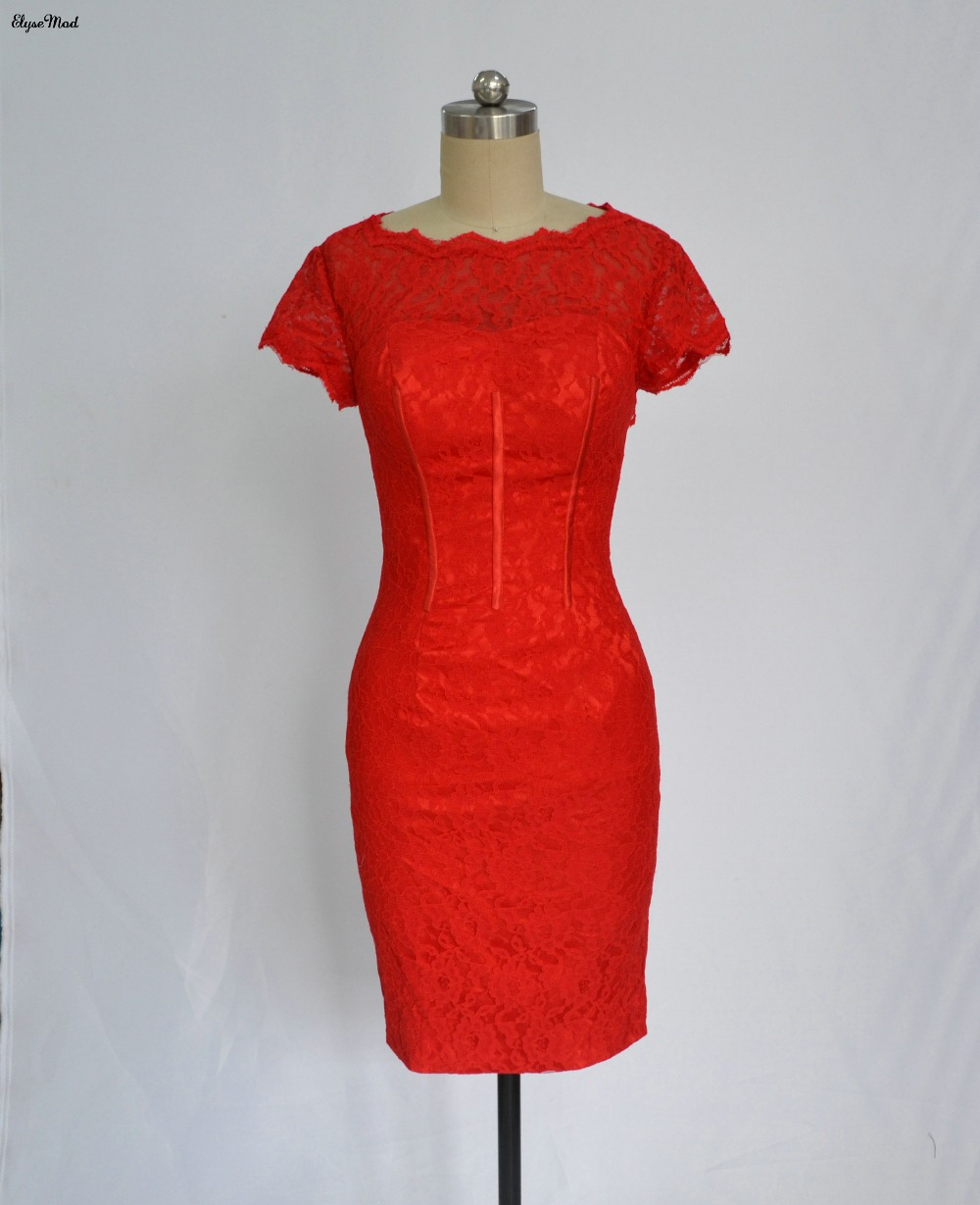 2017 Scoop Neck Sheath Sheer Lace Short Sleeves Mini Length Red   Cocktail     Dresses   Party   Dresses   Homecoming Gowns