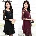 2017 primavera e no outono new long-sleeved laço longo-sleeved das mulheres tamanho grande cor sólida dress tb708