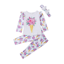 Little Girl Floral 3Pcs Clothes Set Toddler Baby Kids Girls Flower T-shirt Tops Long Pants Headband Outfits Clothing 0-5T 2019 стоимость