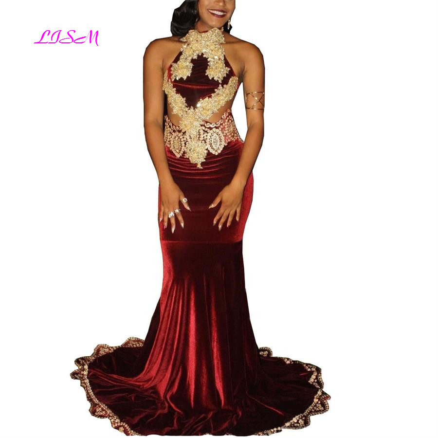 2019 Burgundy Mermaid Velvet   Prom     Dresses   with Gold Lace Appliqued Beadings Sexy Backless Formal Evening Gowns New Fashion Wears
