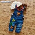 2017 Nueva Llegada Del Bebé Niños Niñas Pantalones Del Babero Overol de Mezclilla de Primavera y Otoño de la Historieta Correas de Vaquero Pantalones de Los Niños Pantalones Vaqueros de la Marca Pant
