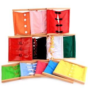 Деревянные игрушки Монтессори Детские практичные жизненные кнопки гардеробная рама дошкольные развивающие обучающие игрушки для От 1 до 3 ...