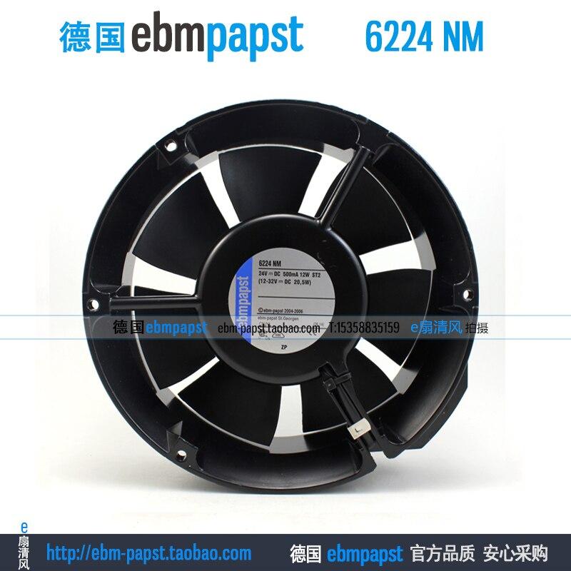 Original new ebm papst 6224 NM 6224NM DC 24V 0.5A 12W 172x172x51mm Inverter axial fan ebm papst original inverter fan w2g115 ag71 12 12738 24v 0 5a 12w 127 127 38mm