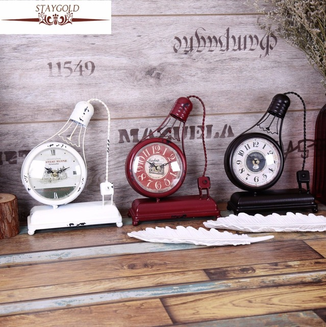 Creative Handmade Collectibles Model Ornaments Decorated Bar Bell Bulb  Style Reloj Table Clock Vintage Home Decor