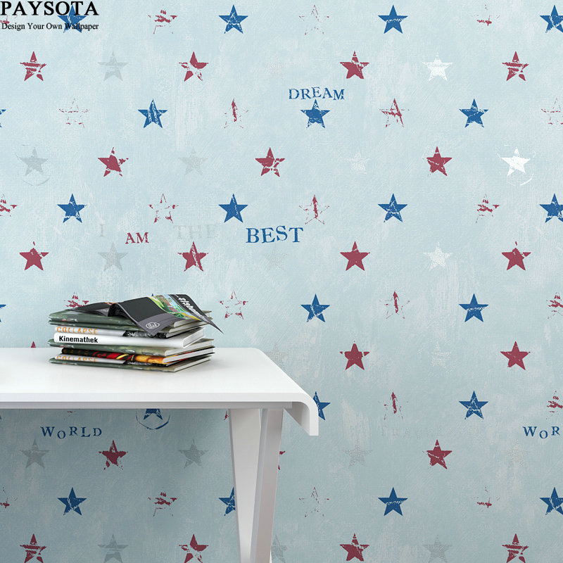 New Papier Peint Papel Pintado Paysota Children Room Stars Letters Cartoon Wallpaper Boy Lovely Bedroom Warmth Wall Paper papier peint papel pintado paysota children room wallpaper lovely stars boy and girl bedroom environmental non woven wall paper