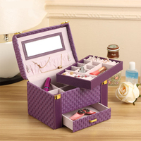 Casegrace Delicate Purple Woven Makeup Organizer Cosmetic Storage Box Luxury Jewel Case Large Capacity Jewelry Box Birthday Gift