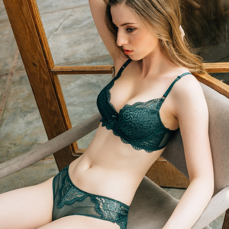Sexy Push Up   bra     set   lace   set   underwear Adjusted-straps   bra   and panty   set   high quality underwear women   set   vs Green lingerie