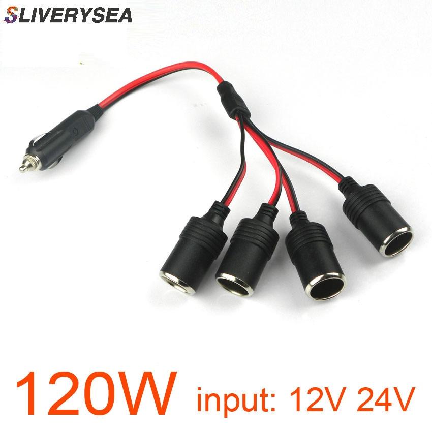 120W 4 Ways Triple Car Cigarette Lighter Splitter Female Socket Plug Power Adapter Connector, Input 12V 24V Output 12V 10A B1087