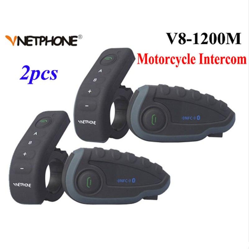 2 pièces Vnetphone V8 casque de moto Interphone NFC télécommande Bluetooth Interphone casque 5 Rider 1200 M duplex complet parler