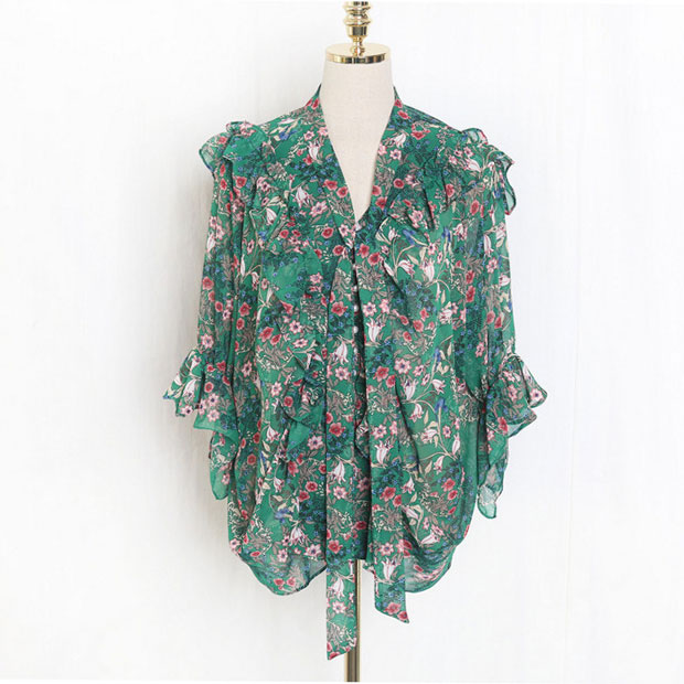 New J41581 One Size Women Chiffon Shirt Casual Fashion Sweet Small Floral Printed Tshirt-in T-Shirts from Women's Clothing    3