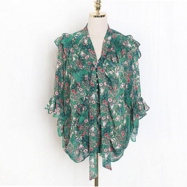 Nuevo J41581 una camisa de chifón de talla única moda Casual dulce pequeña Camiseta con estampado Floral - 3