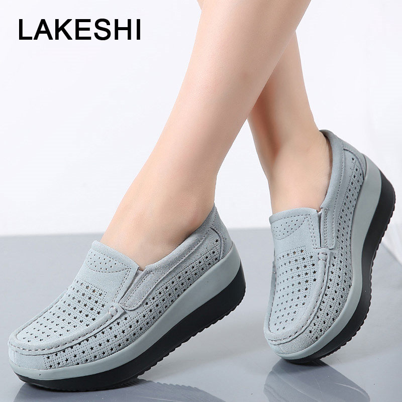 LAKESHI Moccasins Creepers Women Flat Platform Shoes Fashion Loafers Women Shoes Suede Hollow Shake Shoes Slip On Female Shoes women creepers shoes 2015 summer breathable white gauze hollow platform shoes women fashion sandals x525 50