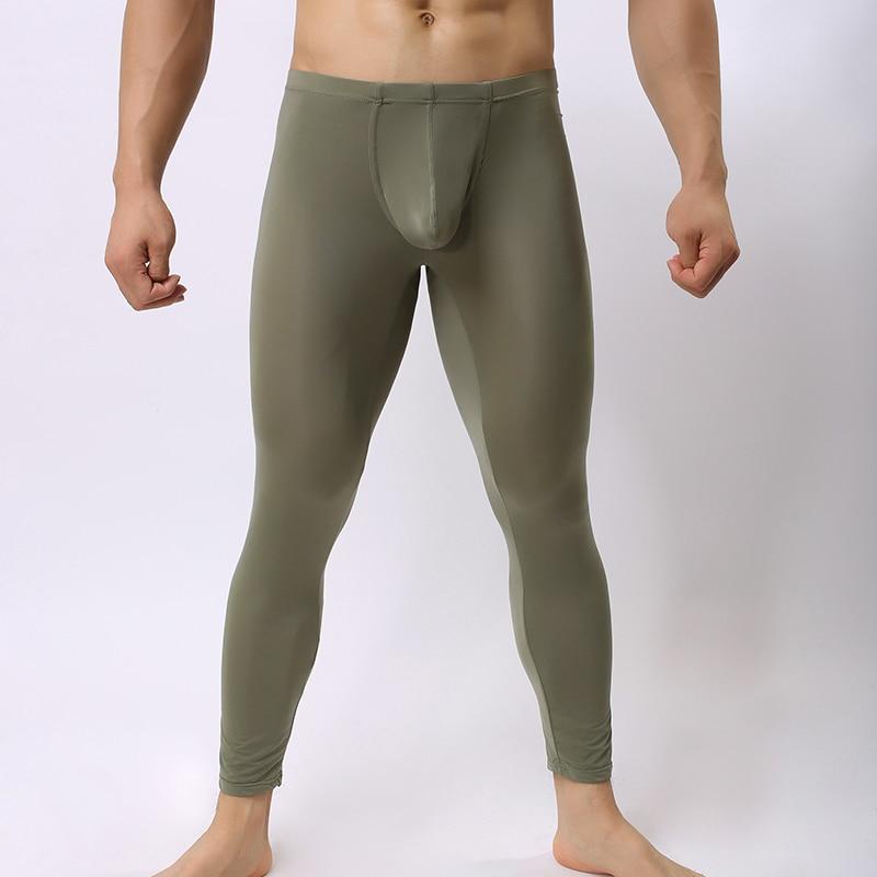 Man Bottoms Underwear/Male Sexy Mesh Sheer Lounge Pants/Gay Ice Silk Transparent Leggings Sleepwear