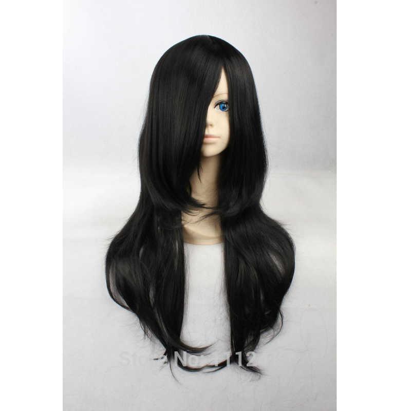 Kunieda Aoi/Kuchiki Byakuya/Orochimaru/Hyuga Neji 65 Cm Hitam Culy Anime Cosplay Wig. coser Rambut + Wig Topi