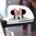 Arranhões Cobertura Peeping engraçado Etiqueta Do Carro Bonito Mickey Minnie Mouse Dos Desenhos Animados Espelho Retrovisor Decalque Da Motocicleta Para Vw Bmw Ford Kia