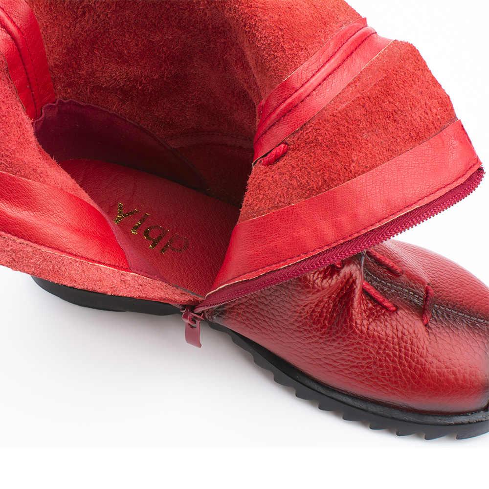 LAKESHI 2019 Vintage stil hakiki deri kadın çizmeler düz patik inek derisi kadın ayakkabısı ön Zip yarım çizmeler zapatos mujer