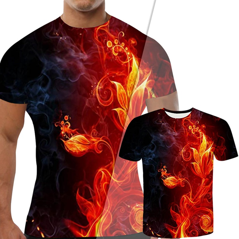 Red Flaming Tshirt Men T Shirt 3d T-shirt Black Tee Casual Top Anime Camiseta Streatwear Short Sleeve Cloth Dropshipping