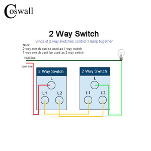 Image 3 - COSWALL 6 Gang 2 Way Pass Through Light Switch On / Off Wall Switch Switched With LED Indicator Stainless Steel Panel 197* 72mm