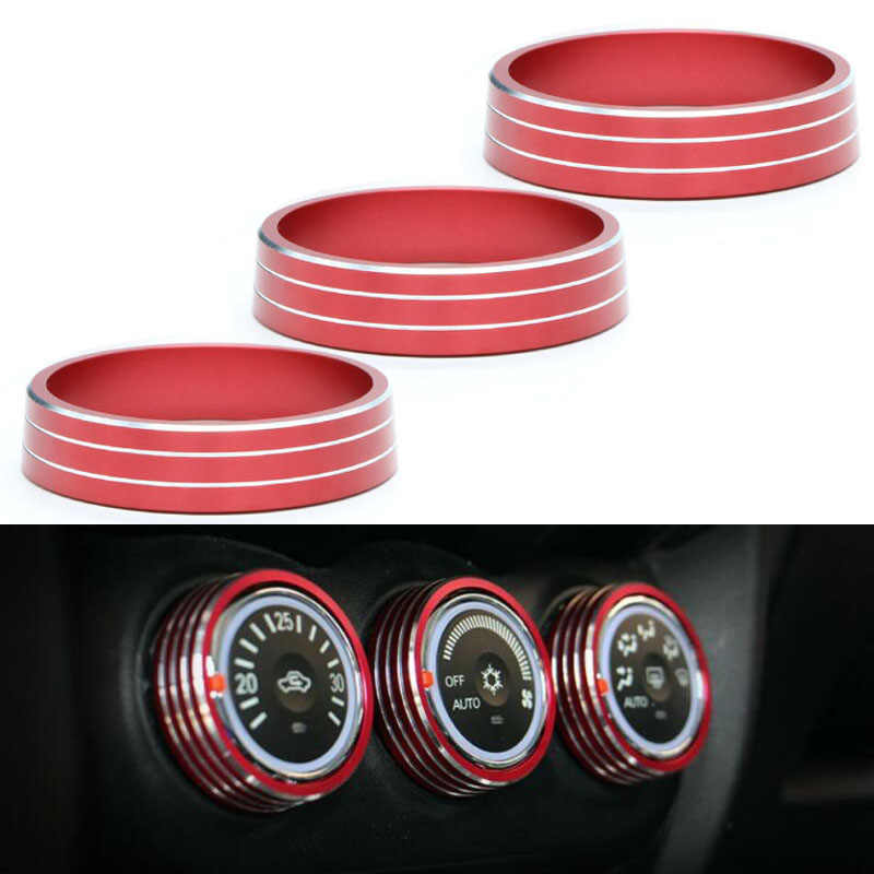 3pcs Red Knob Ring Cover ABS Plastic Covers High Quality Accessory For Mitsubishi ASX Outlander Sport RVR AC Panel Switch   