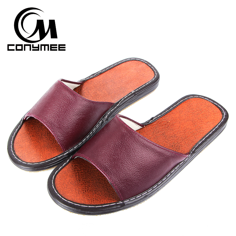CONYMEE Couples Summer Sandals Genuine Leather Casual Shoes Pantufa Men/Women Fashion Sneakers Home Indoor Slippers Flip Flops