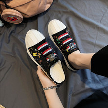 Mens half slippers Korean version of the wild trend summer personality floral lazy outside wearing canvas shoes