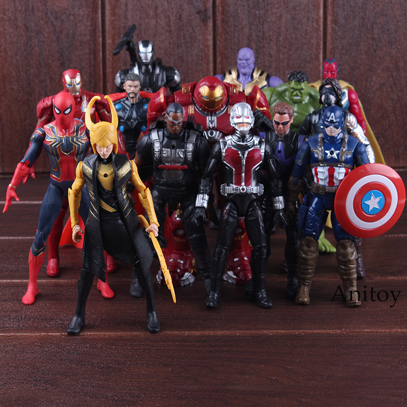 Avengers Infinity Guerre Hulk Thor Captain America Spiderman Thanos Iron Man Vision Faucon Hulkbuster Loki PVC Marvel Avengers Jouets