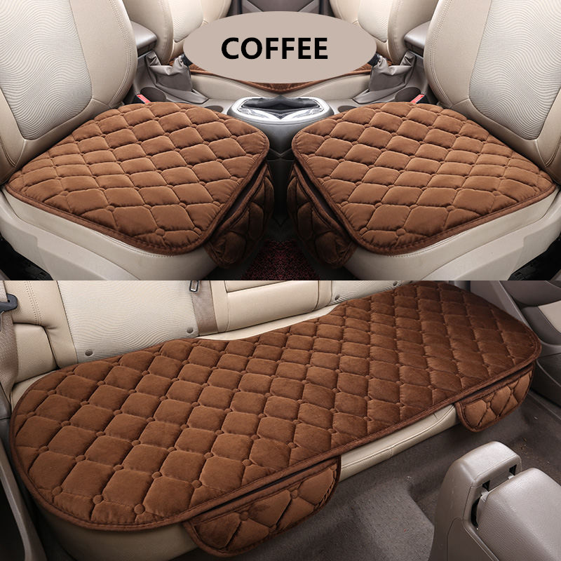 3PCS/Set Universal Comfortable Square Soft Cotton Car Seat Cushion Front Back Seat Covers Auto Chair Pad Mat Car Supplies