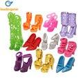 10 pares de sapatos boneca para barbie dolls assorted coloridos boneca da moda sapatos de salto alto sandálias acessórios outfit vestido de presente de natal