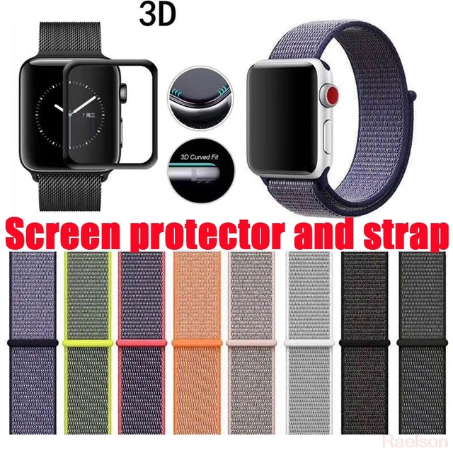 the latest 32059 0dee3 US $6.6  Screen protector For Apple Watch band 42mm/38mm iwatch 3/2/1 Nylon  strap for iWatch colorful pattern classic buckle-in Phone Screen ...