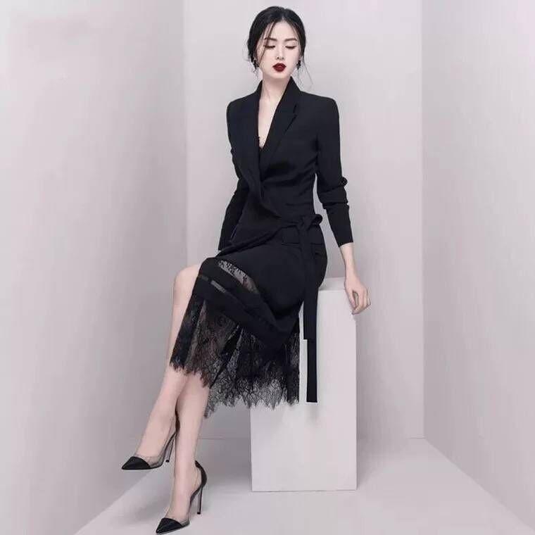 Moulante Dentelle Longues Top Celebrity À Qualité Noir Femmes Ceintures Hiver Soirée Manches Robes Élégant De wXTiPkZlOu