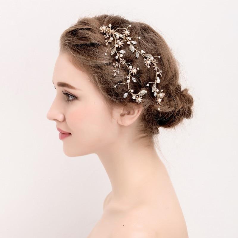 Dower me Handmade Gold Leaf Hair Clip Bridal Hair Vine Accessories