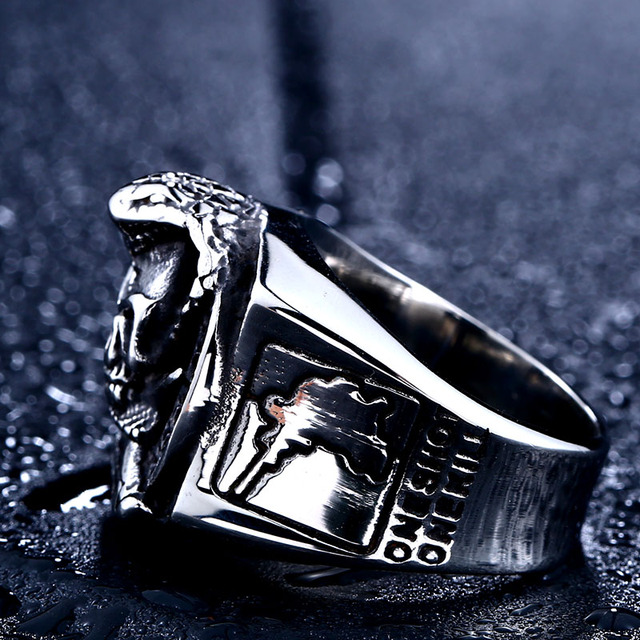 STAINLESS STEEL US ARMY SNIPER SKULL RING