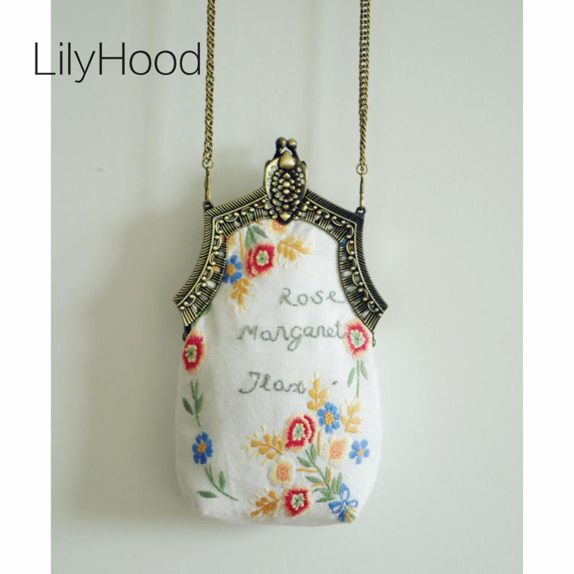 ФОТО 2017 Handmede Female Floral Embroidery White Shoulder Bags Antique Retro Vintage Victorian Style Chic Small Cell Phone Mini Bags