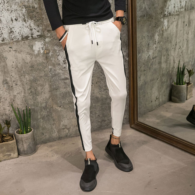 Fashion 2019 Summer Men Joggers Slim Fit Casual Harem Pants Side Stripe Hip Hop Streetwear Trousers Men Clothes Black/White 34