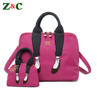 2pcs Women Shoulder Bags Female Embroidery Cartoon Messenger Bag Handbags Tote With Mini Shell Bag Shopping